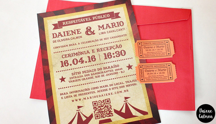 Nosso Convite de Casamento DIY (Tema: Circo)