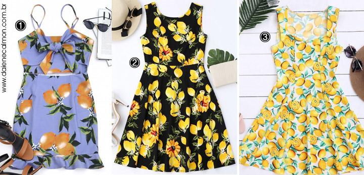 Vestidos com estampa de limão - Lemon Print Dresses - Zaful
