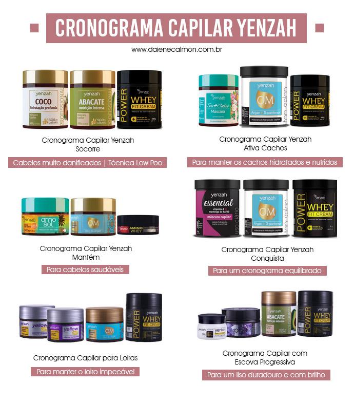 Cronograma Capilar com produtos Yenzah