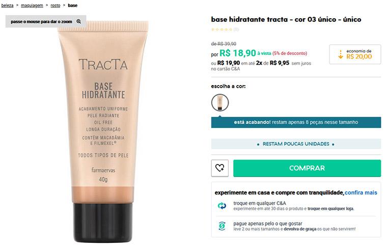 Base Hidratante Oil Free - Tracta