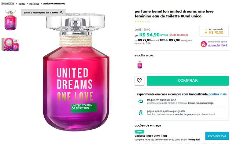 Perfume United Dreams One Love Feminino Eau de Toilette - Benetton