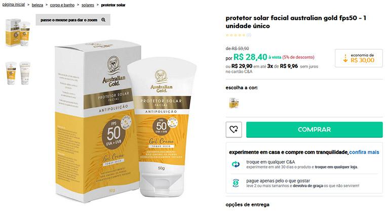 Protetor Solar Facial FPS50 - Australian Gold